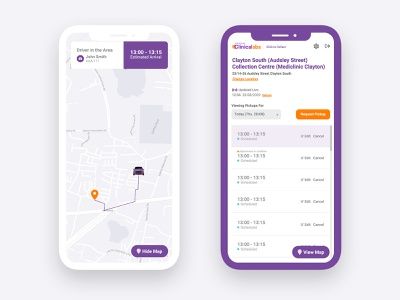 Medical Courier Booking Service Mobile App android ios app ios app flat application ux design ui