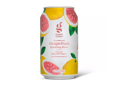 Target Good & Gather Sparkling Water food packaging beverage packaging fruits grapefruits target beverage grapefruit illustration sparkling water