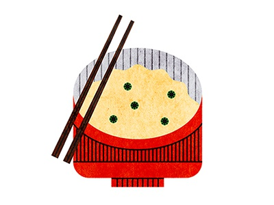 108 food bowl lunch dinner chopsticks peas rice