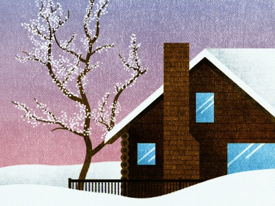 140 winter snow tree cabin