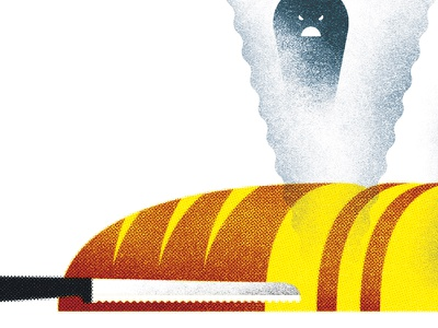 149 illustration steam ghost knife slicing bread