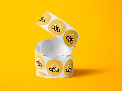 Homey Tree Labels yellow beer label tree honeybee honey bee identity logotype logo brands branding