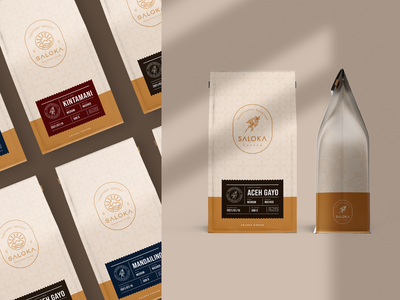 Saloka Coffee Packaging ui logo illustration drink packaging design cup branding box bottle app pouch design label design packaging design packaging