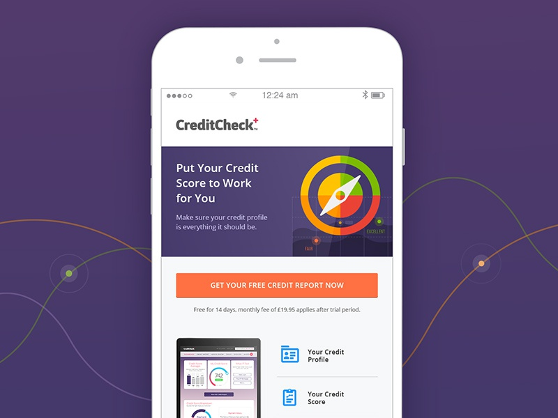 Credit Check Plus conversion visual andriod ios email interface mobile simple fresh clean app ui-ux