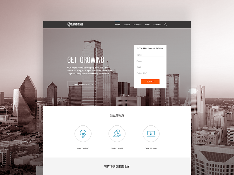 Mindtap Marketing: Get Growing ux-ui startup agency marketing investors homepage form conversion