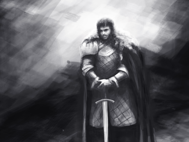 A Song of Ice and Fire knight illustration flame drawing character art sketch