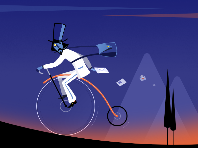 Express Mail vector artwork mountain biking trees white suit night steam punk persona cg concept art express mail postman mail email bycicle art vector illustration
