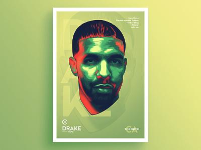 Neon Artist .5 - Drake artist music saturated neon glitch portrait hotline bling drake