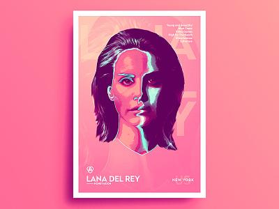 Neon Artist .7 - Lana Del Rey saturated portrait neon music glitch artist