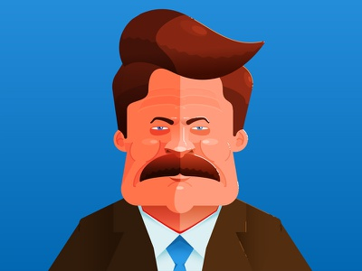 Nick illustration character dylan casano design ron swanson nick offerman