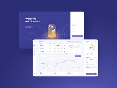 Cryptocurrency Dashboard - concept design coin investment business vector graphs splash screen isometric illustration web desktop statistics cryptocurrency ui dashboard web app