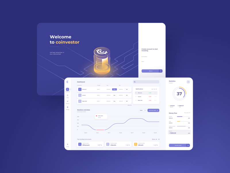 Cryptocurrency Dashboard - concept design coin investment business vector graphs splash screen isometric illustration web desktop statistics cryptocurrency ui dashboard web app