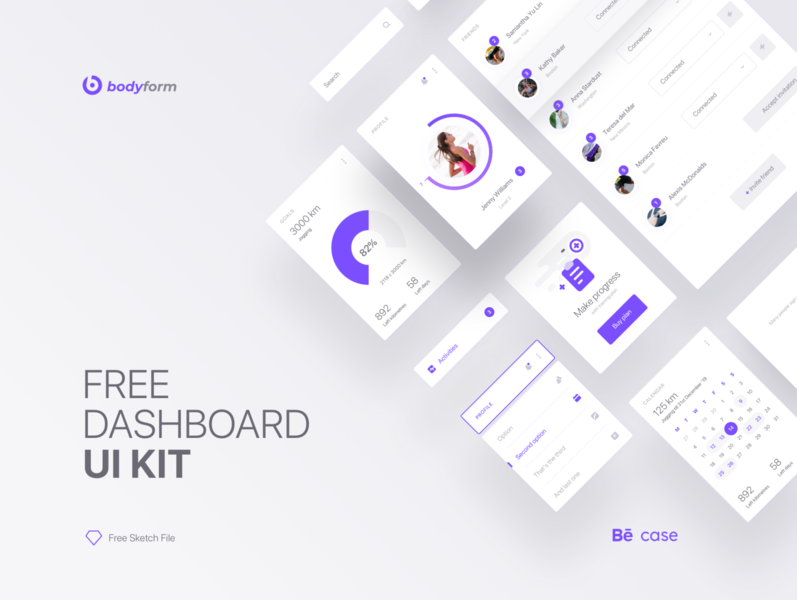 Fitness App UI Kit Freebie desktop web app web mobile mobile app elements ui design ui kit fitness dashboard freebie free download free