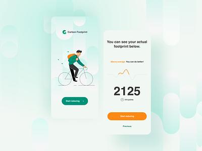 Carbon Footprint - concept app illustration mobile ui mobile app design mobile planet health activity footprint analitycs data cta button splash screen environment application app
