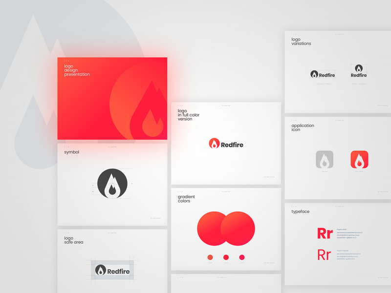 Visual identity for a augmented reality application Redfire. typography application augmented reality vector avatar design branding brand symbol logo