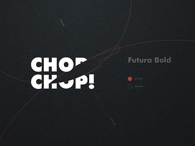 Chop chop logo lettering black and white typography application vector branding design symbol brand logo