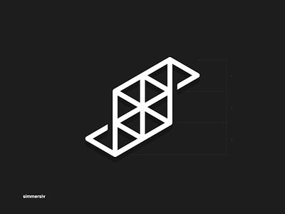 Logo for Simmersiv a virtual reality training platform avatar monogram black and white lettermark vector design branding brand symbol logo