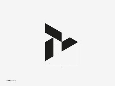 Symbol for Motiffo brand agency. letter m phoenix monogram black and white avatar design vector branding brand symbol logo