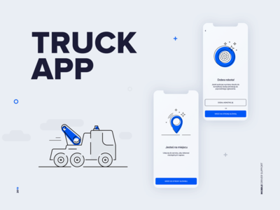 Truck app a mobile driver support typography vector flat app icon ux symbol illustration ui design