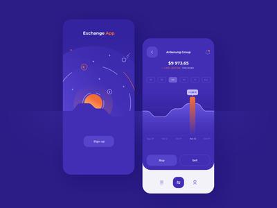 Stock Exchange app view - concept design
