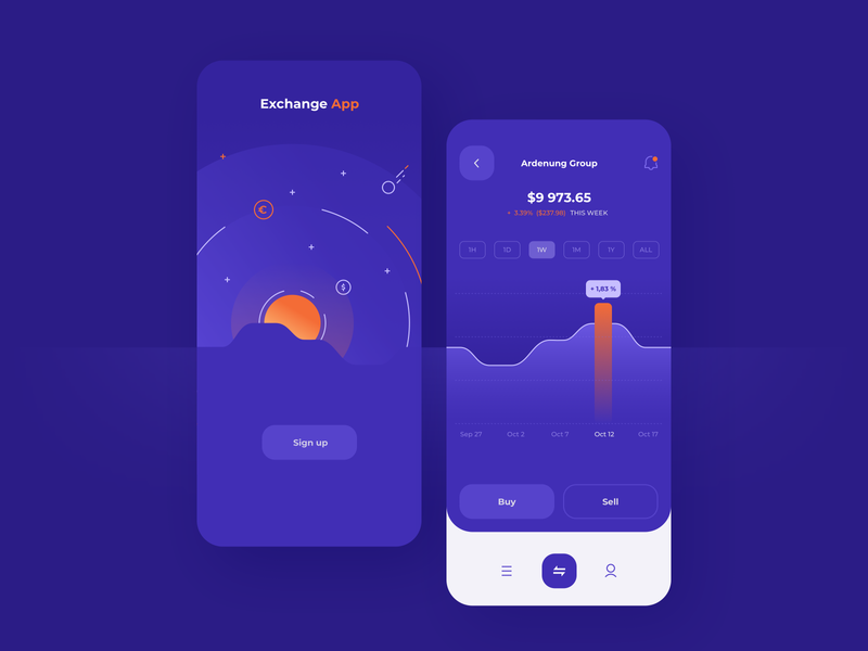 Stock Exchange app view - concept design icons illustrator sketch statistics data chart splashscreen technology finance fintech business minimal gradients ios app mobile design concept
