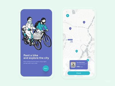 Japan Bike Rental Mobile App - Exploration map rental cycle bike japan ux vector logo illustration ui design clean branding app