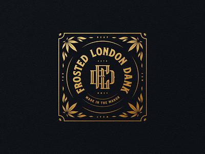 Frosted London Dank identity badge bespoke london creative direction illustration linework cbd canna cannabis monogram logo logo design branding