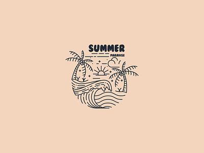 Summer Paradise ui art app graphic design branding illustrator illustrasi neatlineart logo lineart summerparadise paradise summer