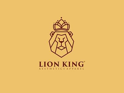 Lion King Logo illustration art lineart design neatlineart graphic design logo royal power lion head luxury crown company branding animals esport lionking king lion lion king logo