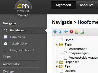 Drag n drop menu structure ui html css3 cms