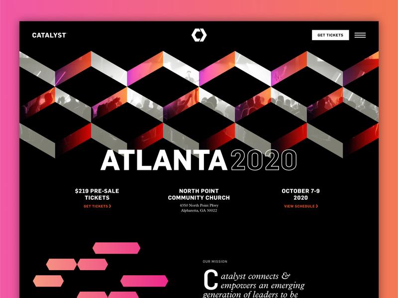 Catalyst Atlanta 2020 dark ui gradients event conference design catalyst webflow sketch website design website