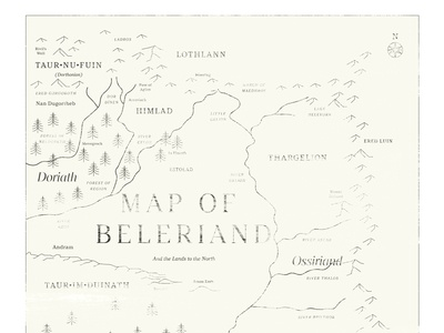 Map of Beleriand typeface font fonts typography silmarillion lord of the rings tolkien map