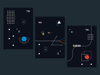 Machine Learning Illustrations 3-color dark mode black pattern cube prism geometric machine learning sci-fi illustrations
