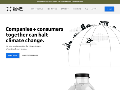 Climate Neutral webflow website design offset emissions carbon global warming hero image climate crisis weathered climate change earthday airplanes airplane header earth climate animation globe illustration hero