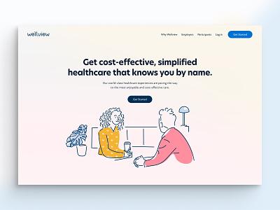 Wellview Health gradient nurse physician doctor healthcare health offset press line art illustration web design website design website