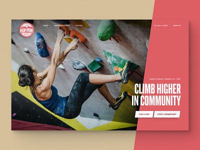 High Point Climbing Gym gym boulder climb web design website design slanted slant website bouldering climbing high point