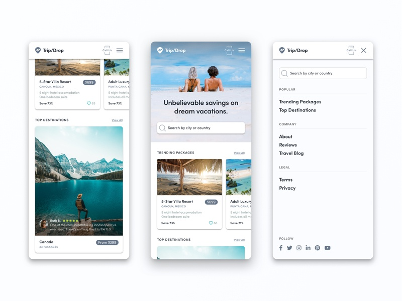 Mobile First Travel Website getaway vacation card ui card travel mobile design mobile ui mobile