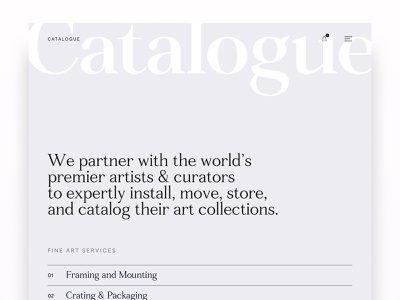 Catalogue Style Test 1 curator art typography type web design website design website