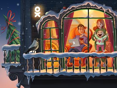 Christmas is coming... family crow balcony christmas tree new year christmas woman romantic cute emotions love animal illustration cartoon character