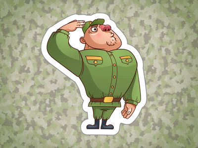 Army sticker set  icon cartoon character 23 vector set february sergeant sticker army