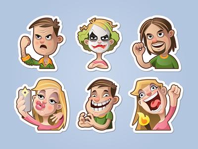 Meme sticker set  smile famous blond woman man girl emoji emotion sticker cartoon character meme