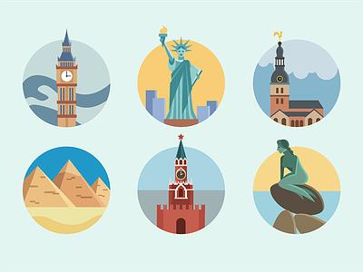 Landmark badges icon flat set world landmark building monument famous sightseeing city country badge