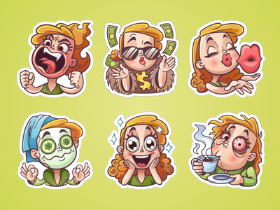 Girly sticker set for OK.ru vector excitement coffee angry calm money emotions kiss woman set sticker girl