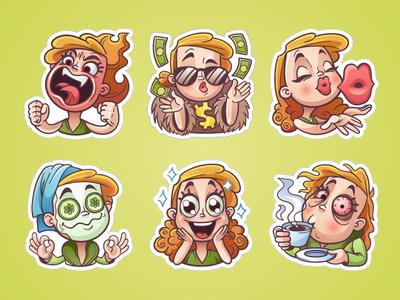 Girly sticker set for OK.ru