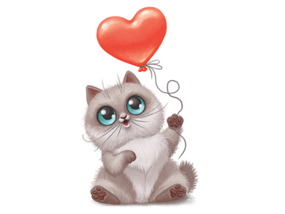 Sweet kitty cute pet animal play balloon heart kitten kitty cat