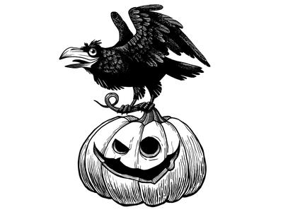 Inktober Halloween ink bird halloween crow pumpkin raven