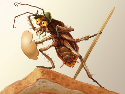 Insect warrior animal illustration cartoon character weapon bug warrior insect roach cockroach