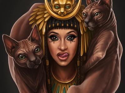 Egyptian portrait of Cardi B illustration portrait goddess gold celebrity egyptian cat sphynx cardi b cardi