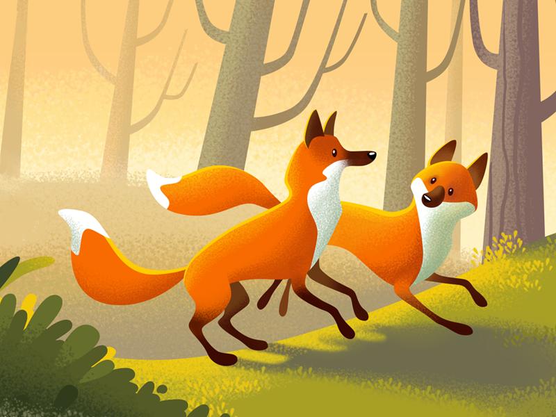 Foxes for OK.RU noise fox love character design animal illustration cartoon