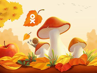 September season nature birds leaves illustration snail mushrooms september autumn fall